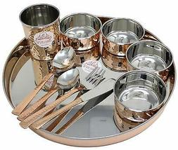 Copper Stainless Steel Large Dinner Plate Thali Dinnerware f