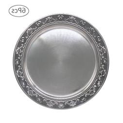 13-Inch Stainless Steel Charger Plates, 6Pcs Silver Dinner P
