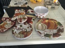 15 PC.Fall Pumpkin Harvest Dinner, salad, and bowls + oven m