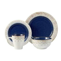 16 piece granada round dinnerware set blue