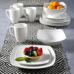 16 Piece Porcelain Dinnerware Set Service for 4 Square White