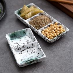 1pc Rectangular Ceramic Tray Divided Sauce Dish Sushi <font>