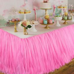 1xTUTU Tulle Table Skirt Tableware Cover Baby Shower Wedding