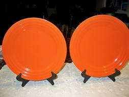"2 Rachael Ray  11"" Dinner Plates Orange Double Ridge Pattern"