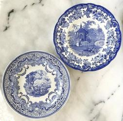 2 Spode Blue Room Plates Continental Views & Zoological The