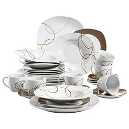 VEWEET 30-Piece Ceramic Tableware Set Brown Lines Patterns K