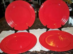"4 Rachael Ray 11"" Dinner Plates Red Double Ridge Brand New"
