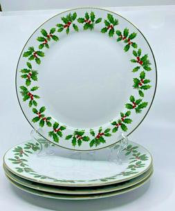 4 Better Homes & Gardens HOLLY BERRY Dinner Plates Holiday 2