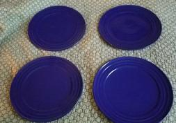 "4 RACHAEL RAY Blue 11"" Double Ridge Dinner Plates"