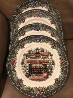 ROYAL STAFFORD 4 CHRISTMAS FIREPLACE DINNER PLATES DISHES