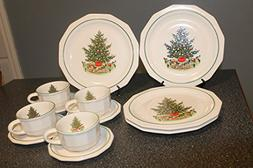 Pfaltzgraff Heritage Holiday 4 Dinner Plates 4 Cups & 4 Sauc