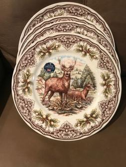 ROYAL STAFFORD 4 FALL DEER HUNTING DINNER PLATES DISHES