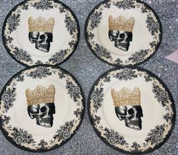 ROYAL STAFFORD 4 HALLOWEEN SKULL KING CROWN DINNER PLATES DI