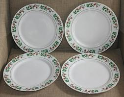 4 Gibson Holly Berry Christmas Charm Dinner Plates New