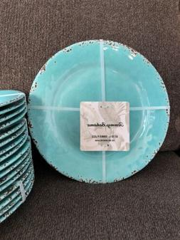 "4 NEW 11"" Dinner Plates Tommy Bahama Melamine Rustic Crackle"