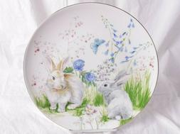 4 New in box Floral Meadow Bunny dinner plates from WILLIAMS
