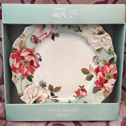 222 Fifth ORIANA Teal Dinner Plates Floral Peony BRAND NEW!