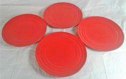 4 Piece Set Salad Plates Rachael Ray Double Ridge Bright Red