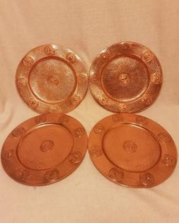 4 real copper greek style dinner plates