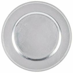 1 round charger beaded dinner plates silver