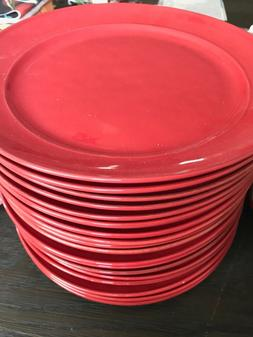 $40 POTTERY BARN CAMBRIA SET of 4 pcs Red DINNER PLATES Made
