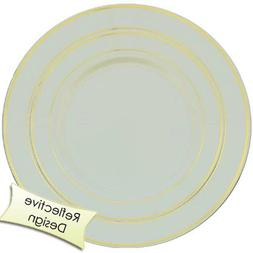 40 Line Design Dinner /Wedding Disposable Plastic Plates, si