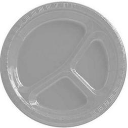 Amscan 43033.17 Silver Plastic Divided Dinner Plates 10.25 i