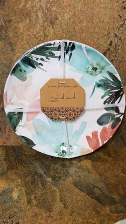 4pc Nicole Miller Dinner Plates Watercolor Shatterproof MELA