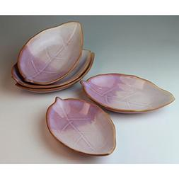 Hagiyaki 5 small plates made in Japan. Japanese pottery with