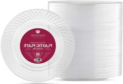50 Crystal Clear Plastic Plates | 9 Inch Disposable Plates |