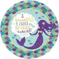 """Amscan 551975 Mermaid Wishes Paper Dinner Plates, 9"""", Multic"""