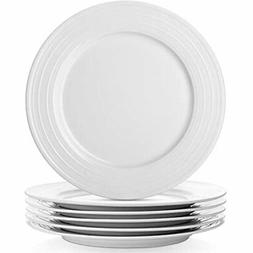 6-Piece White Dinner Plates Set, 10 Inches Porcelain Of 6,