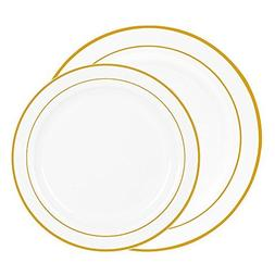 Chefcaptain 60 Heavyweight White with Gold Rim Plastic Plate