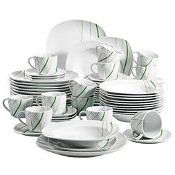 VEWEET 60-Piece Porcelain Dinner Sets White Stoneware Saucer