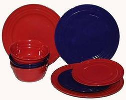 8-Pc RACHAEL RAY Double Ridge Red & Blue Dinner-3 & Salad Pl