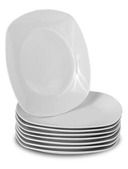 Klikel 8 White Dinner Plates | Porcelain Square Dinnerware |