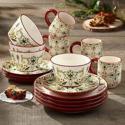 American Atelier 6222-16-RB Bargello Holiday 16 Piece Dinner