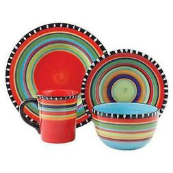 Gibson Elite Pueblo Springs 16-Piece Dinnerware set, Multico