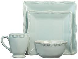Lenox French Perle Bead Square 4 Piece Place Setting, Ice Bl