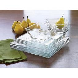 Libbey Tempo 12-Piece Glass Dinnerware Set, Service for 4