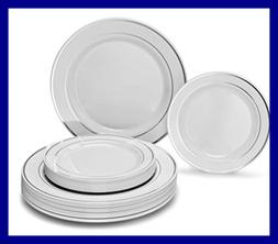 """ OCCASIONS"" 50 piece Party Disposable Dinnerware Set - Wedd"