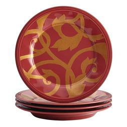 Rachael Ray Dinnerware Gold Scroll 4-Piece Salad Plate Set,