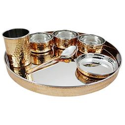 RoyaltyLane Indian Dinnerware Stainless Steel Copper Traditi