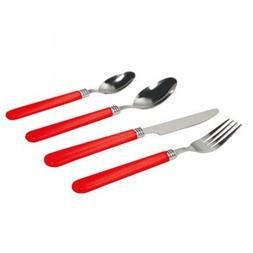 Sensations II 16 Piece Plastic Handle Flatware in Red by Gib