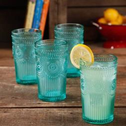 The Pioneer Woman Adeline 16-Ounce Emboss Glass Tumblers, Se