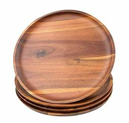 Acacia Wood Dinner Plates, AIDEA 11Inch Round Wood Plates Se