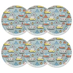 Zak! Designs 6 Piece Adventurer Melamine Plate, Tents & Trai