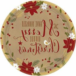 Amscan Merry Little Round Dinner Paper Plates Christmas Part