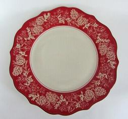 222 Fifth ANDOVER DINNER Plates Christmas Winter Pine Cone 1