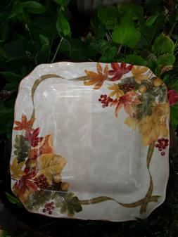 """222 FIFTH AUTUMN CELEBRATION 11"""" SQUARE DINNER PLATE, EXCE"""